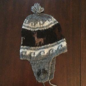 Alpaca Wool Beanie with Pom and Ear Flaps